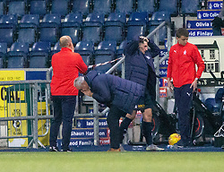 Falkirk's manager Ray McKinnon after Andrew Irving misses a header. Falkirk 0 v 1 Ayr United, Scottish Championship game played 3/11/2018 at The Falkirk Stadium.