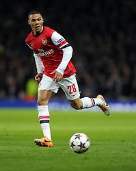 Arsenal's Kieran Gibbs - Photo mandatory by-line: Joe Meredith/JMP - Tel: Mobile: 07966 386802 19/02/2014 - SPORT - FOOTBALL - London - Emirates Stadium - Arsenal v Bayern Munich - Champions League - Last 16 - First Leg
