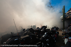 The burnout pit was lit up at the Iron Horse Saloon during Daytona Bike Week. Ormond Beach, FL. USA. Monday March 12, 2018. Photography ©2018 Michael Lichter.