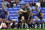 Reading, Berkshire, 20th April 2003,  ZURICH PREMIERSHIP RUGBY, The Madejski Stadium,  [Mandatory Credit: Peter Spurrier/Intersport Images],<br /> <br /> Zurich Premiership Rugby London Irish v Leeds<br /> Exiles No.5 Bob Casey breaks with the ball.