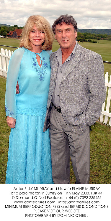 Actor BILLY MURRAY and his wife ELAINE MURRAY at a polo match in Surrey on 11th May 2003.PJK 44