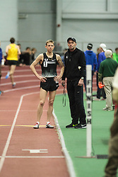 Boston University Multi-team indoor track & field meet, Galen Rupp and coach Alberto Salazar before attempt at American inddor 5000 m record
