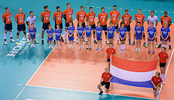 20150614 NED: World League Nederland - Finland, Almere<br /> Line up voor Nederland