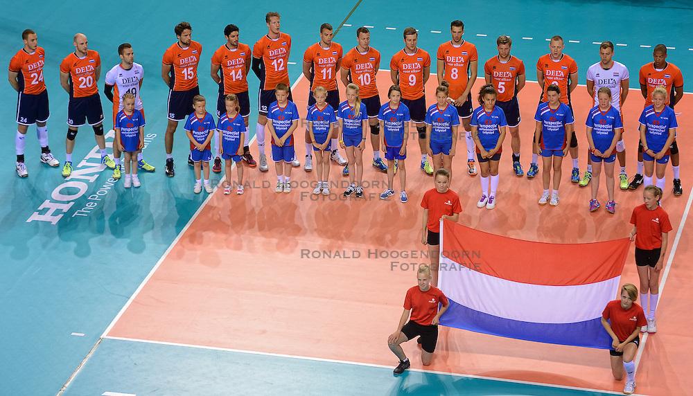 20150614 NED: World League Nederland - Finland, Almere<br /> Line up voor Nederland
