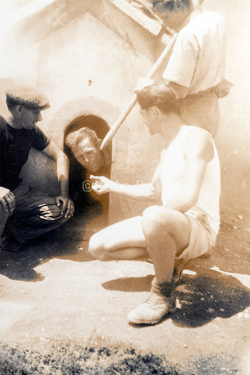 construction workers fooling around ca 1930s France