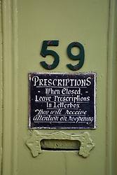 Sign on old fashioned chemist, Lowestoft, Suffolk UK