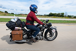 Richard Campbell riding his restored 1940 opposed twin Zundapp during the Cross Country Chase motorcycle endurance run from Sault Sainte Marie, MI to Key West, FL (for vintage bikes from 1930-1948). Stage 2 from Ludington, MI to Milwaukee, WI, USA. Saturday, September 7, 2019. Photography ©2019 Michael Lichter.