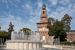 Fountain in front of Castello Sforzesco, Milan, Lombardy, Italy