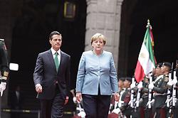 June 9, 2017 - Mexico, Mexico, MEXICO - Mexican President Enrique Pena Nieto greets German Chancellor Angela Merkel for a two day state visit in Mexico City on Friday June 9, 2017. (Credit Image: © Prensa Internacional via ZUMA Wire)