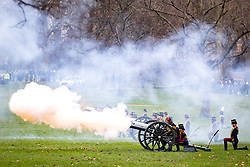 February 6, 2018 - London, London, UK - London, UK. The King's Troop Royal Horse Artillery in full dress uniform ride out from Wellington Barracks into Green park to perform a 41-gun royal gun salute, to celebrate Queen Elizabeth II's accession to the throne. (Credit Image: © Tom Nicholson/London News Pictures via ZUMA Wire)