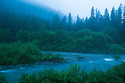 Evening on the bank of the Cascade River at Mineral Park Campground, Mount Baker-Snoqualmie National Forest, Washington.