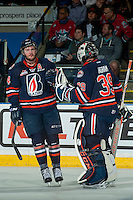 KELOWNA, CANADA - MARCH 26: Ryan Rehill #24 and Connor Ingram #39  of Kamloops Blazers celebrate a goal against the Kelowna Rockets on March 26, 2016 at Prospera Place in Kelowna, British Columbia, Canada.  (Photo by Marissa Baecker/Shoot the Breeze)  *** Local Caption *** Ryan Rehill; Connor Ingram;