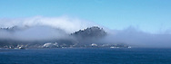 Panoramic view of Point Lobos shrouded in  early summer fog, on the coast of California