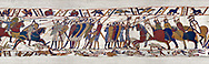 11th Century Medieval Bayeux Tapestry - Scene 51 William encourages his soldiers into battle against the Saxon foot soldiers. Battle of Hastings 1066. .<br /> <br /> If you prefer you can also buy from our ALAMY PHOTO LIBRARY  Collection visit : https://www.alamy.com/portfolio/paul-williams-funkystock/bayeux-tapestry-medieval-art.html  if you know the scene number you want enter BXY followed bt the scene no into the SEARCH WITHIN GALLERY box  i.e BYX 22 for scene 22)<br /> <br />  Visit our MEDIEVAL ART PHOTO COLLECTIONS for more   photos  to download or buy as prints https://funkystock.photoshelter.com/gallery-collection/Medieval-Middle-Ages-Art-Artefacts-Antiquities-Pictures-Images-of/C0000YpKXiAHnG2k