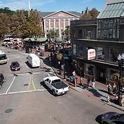 Cars and pedestrians in Harvard Square, Cambridge, MA