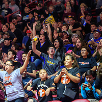 Gallup Bengal fans cheer their team along from the stands while they face off with the Bloomfield Bobcats in the girls District 5A semifinal at The Pit in Albuquerque Thursday.