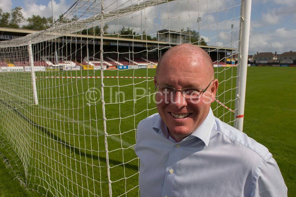 Nick Leeson, the former banker known as the Barings Rogue Trader seen Terryland Park, the home of Galway United, Ireland. Leeson is known as the former Rogue Trader whose financial market risk-taking caused the biggest financial scandal of the 20th century when he brought about the collapse of his employer, Barings Bank (personal bank to HM The Queen) in 1995. Leeson's role and subsequent jailing is one of the most notorious episodes in debacles in modern financial history. Leeson is CEO of Galway United Football Club whose home ground is at Terryland Park, founded in 1024 and with a capacity of 6,000. Leeson is still busy giving motivational speeches to companies around the world.