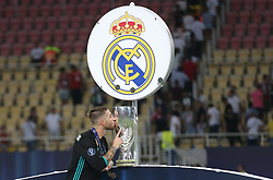 August 9, 2017 - Skopje, Macedonia - Real Madrid's Spanish defender Sergio Ramos kiss his trophy after winning the UEFA Super Cup football match between Real Madrid and Manchester United on August 8, 2017, at the Philip II Arena in Skopje. (Credit Image: © Raddad Jebarah/NurPhoto via ZUMA Press)