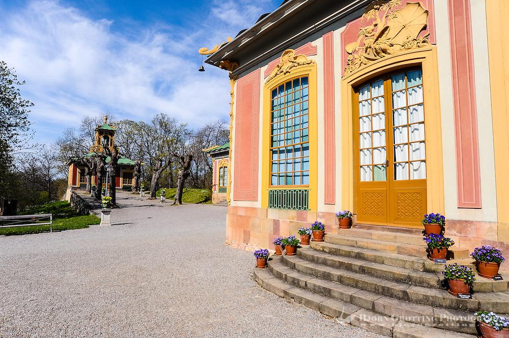 Sweden, Ekerö. The Drottningholm Palace (Drottningholms slott). Chinese Pavilion.