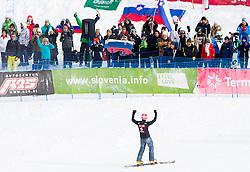 Zan Kosir of Slovenia celebrates during Qualification Run of FIS Snowboard World Cup Rogla 2013 in Parallel Giant slalom, on February 8, 2013 in Rogla, Slovenia. (Photo By Vid Ponikvar / Sportida.com)