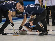 """Glasgow, SCOTLAND, Scotland's, Glen MUIRHEAD, watches as his, """"Stone""""  moves across the ice, with assistance from the  brushing by team mates, {L} Hammy McMILLAN and {R} Ross PATERSON during the  """"Round Robin"""" Game.  Scotland vs Italy at the Le Gruyère European Curling Championships. 2016 Venue, Braehead  Scotland<br /> Wednesday  23/11/2016<br /> <br /> [Mandatory Credit; Peter Spurrier/Intersport-images]"""