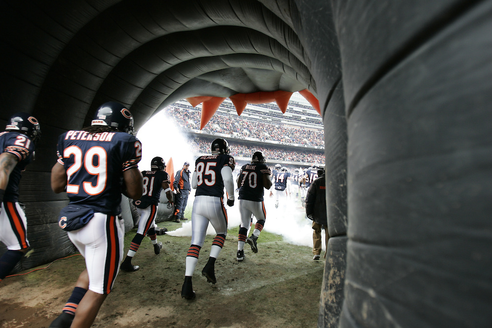 NFL Football, NFC playoffs, Chicago vs Seattle.The Chicago Bears take the field at the beginning of the game..