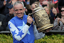 Ruby Walsh celebrates winning the Coral Punchestown Gold Cup on Kemboy, where he then announced his retirement, during day two of the Punchestown Festival at Punchestown Racecourse, County Kildare, Ireland.