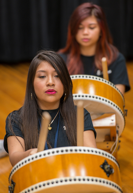 Students practice playing Japanese drums at Sharpstown International School, October 6, 2014.