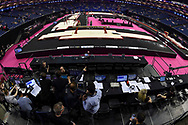 Media teams getting ready ahead of the  iPro Sport World Cup of Gymnastics 2017 at the O2 Arena, London, United Kingdom on 8 April 2017. Photo by Martin Cole.