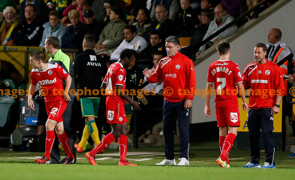 James Boardman / TELEPHOTO IMAGES 07967642437<br /> Crawley's Emmett O'Connor comes on for  Bobson Bawling during round two of the Capital One Cup between Norwich City and Crawley Town at Carrow Road  in Norwich. August 26, 2014.