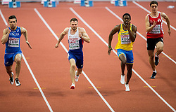 Michael Tumi of Italy, Andrew Robertson of Great Britain, Odain Rose of Sweden and Jerai Torres of Gibraltar compete in the 60m Men heats on day two of the 2017 European Athletics Indoor Championships at the Kombank Arena on March 4, 2017 in Belgrade, Serbia. Photo by Vid Ponikvar / Sportida