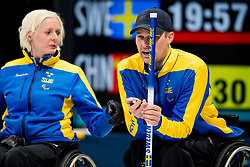 March 10, 2018 - Pyeongchang, SOUTH KOREA - 180310 Kristina Ulander, second skipper, and Viljo Petersson Dahl, first skipper of Sweden, during the wheelchair curling mixed round robin session between Sweden and China during day one of the 2018 Winter Paralympics on March 10, 2018 in Pyeongchang..Photo: Vegard Wivestad GrÂ¿tt / BILDBYRN / kod VG / 170113 (Credit Image: © Vegard Wivestad Gr¯Tt/Bildbyran via ZUMA Press)