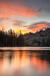 """""""Sunset at Lower Rock Lake 1"""" - Sunset photo shot at Lower Rock Lake in the back country of the Tahoe National Forest."""