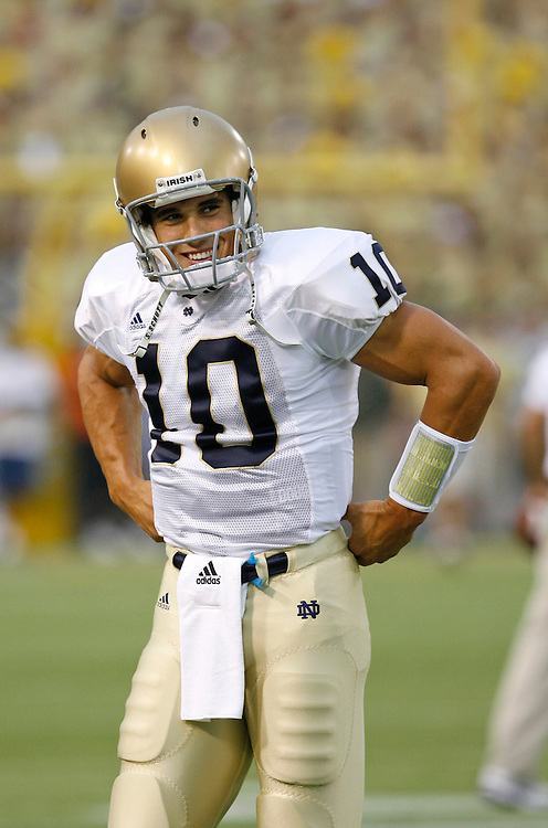 Notre Dame QB Brady Quinn takes a breather before the game against Georgia Tech at Grant Field in Bobby Dodd Stadium in Atlanta, GA on September 2, 2006.  The Fighting Irish beat the Yellow Jackets 14-10.