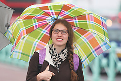 © Licensed to London News Pictures. 12/07/2015. Brighton, UK. Rain has kept people away from visiting Brighton beach, today July 12th 2015. Photo credit : Hugo Michiels/LNP