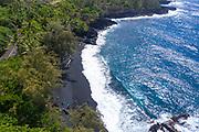Kahena Black Sand Beach, Puna, Island of Hawaii, Hawaii