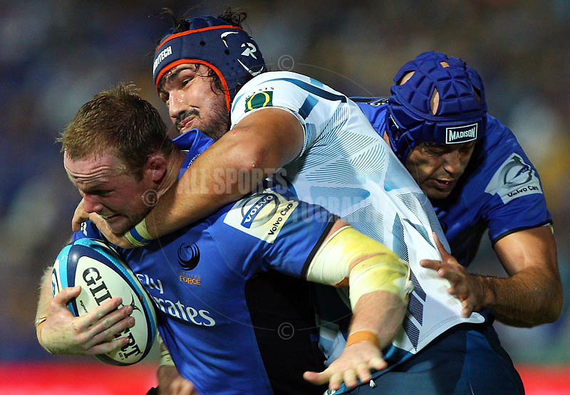 PERTH, AUSTRALIA - APRIL 23:  Richard Brown of the Force pushes to the try line while being tackled by Victor Matfield of the Bulls during the round 10 Super Rugby match between the Force and the Bulls at nib  Stadium on April 23, 2011 in Perth, Australia.  (Photo by Paul Kane/Getty Images)