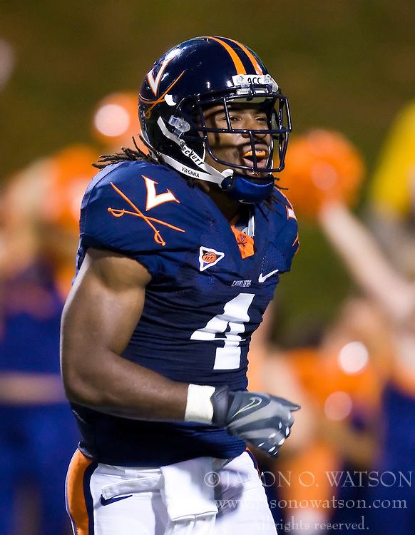 November 14, 2009; Charlottesville, VA, USA;  Virginia Cavaliers wide receiver Vic Hall (4) during the third quarter against the Boston College Eagles at Scott Stadium.  Boston College defeated Virginia 14-10.  Mandatory Credit: Jason O. Watson-US PRESSWIRE