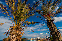 Looking from Jaffa to the beaches of Tel Aviv, Israel.