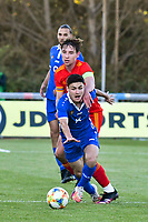 Football - 2023 UEFA U21 Championship - Qualifying - Group E - Wales vs Moldova - Steboneath Park, Llanelli<br /> <br /> Osipov Moldova & Terry Taylor Wales<br /> <br /> COLORSPORT/WINSTON BYNORTH