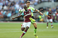 Simon Francis, the Bournemouth captain intercepts Enner Valencia of West Ham United. Premier league match, West Ham Utd v AFC Bournemouth at the London Stadium, Queen Elizabeth Olympic Park in London on Sunday 21st August 2016.<br /> pic by John Patrick Fletcher, Andrew Orchard sports photography.