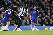 Moussa Sissoko of Newcastle United (c) in action. Barclays Premier league match, Chelsea v Newcastle Utd at Stamford Bridge in London on Saturday 13th February 2016.<br /> pic by John Patrick Fletcher, Andrew Orchard sports photography.