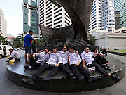 Singapore. Raffles Place. Chefs having a break.