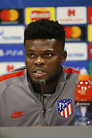 Football - 2019 / 2020 season - Liverpool training & press conference pre-Atletico Madrid<br /> <br /> Thomas Partey of Atletico Madrid speaking to the media ahead of tomorrow's Champions League match against Liverpool, at Anfield, at Anfield.<br /> <br /> COLORSPORT/ALAN MARTIN
