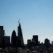 A silhouette of London's skyline as seen from the top of the dome of St Paul's Cathedral.