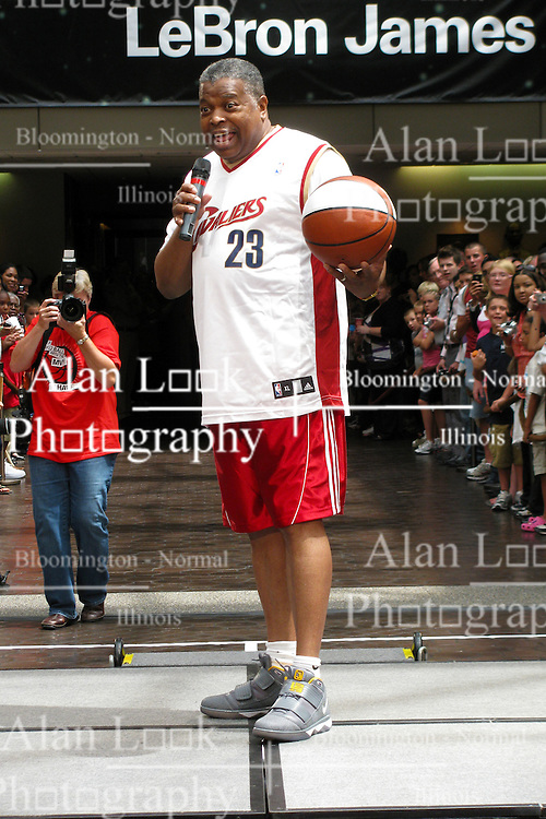 10 August 2009: Willie Brown, Administrative Vice President of State Farm and United Way campaign chairman speaks at an event in which LeBron James stops by State Farm Insurance Company Corporate Headquarters in Bloomington Illinois as part of a United Way campaign