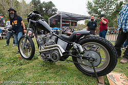 Invited builder Brandon Casquilho's custom Harley-Davidson Shovelhead with unique cast rocker boxes from <br /> Keiji Kawakita of Hot Dock on Day one of the Born Free Vintage Chopper and Classic Motorcycle Show at the Oak Canyon Ranch in Silverado, CA. USA. Saturday, June 28, 2014.  Photography ©2014 Michael Lichter.