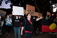 Protesters hold up signs and march to Parliament House during a 'Black Lives Matter' rally on 02 June, 2020 in Sydney, Australia. This event was organised to rally against aboriginal deaths in custody in Australia as well as in unity with protests across the United States following the killing of an unarmed black man George Floyd at the hands of a police officer in Minneapolis, Minnesota. (Photo by Steven Markham/ Speed Media)
