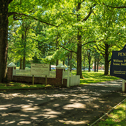 Morrisville, PA, USA - June 23, 2012: The entrance to Pennsbury, William Penn;s residence in Pennsylvania.