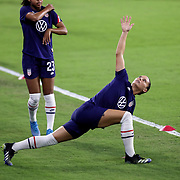 ORLANDO, FL - JANUARY 22:  Ali Krieger #11 of United States stretches before a game against Colombia at Exploria Stadium on January 22, 2021 in Orlando, Florida. (Photo by Alex Menendez/Getty Images) *** Local Caption *** Ali Krieger